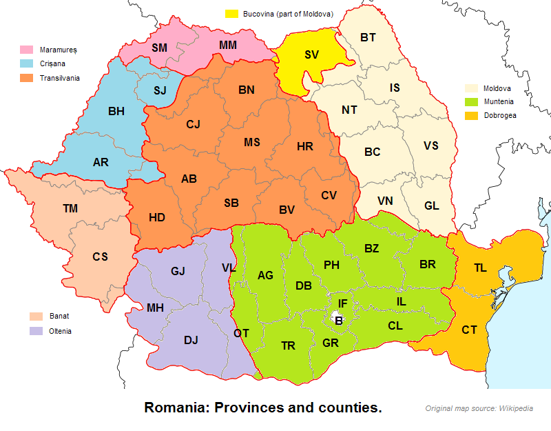 Romania: Provinces and counties.